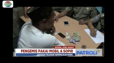 Seorang pengemis lanjut usia yang diringkus di Bogor, Jawa Barat, ternyata berangkat mengemis gunakan mobil serta diantar sopir.