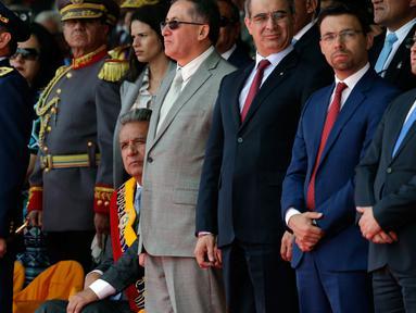 Presiden Ekuador Lenin Moreno menghadiri upacara Hari Kemerdekaan di Quito, Ekuador, (10/8). Ekuador merayakan kemerdekaannya dari Spanyol yang dikenal sebagai 'El Primer Grito de Independence' or 'The First Cry of Independence.' (AP Photo/Dolores Ochoa)