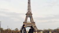 Ungkapan cinta ditulis Alyssa sebagai keterangan foto dengan latar Menara Eiffel. Foto yang diunggah pada Senin (23/10/2017) itu mendapatkan puluhan ribu likes dari warganet. (Instagram/alyssadaguise)