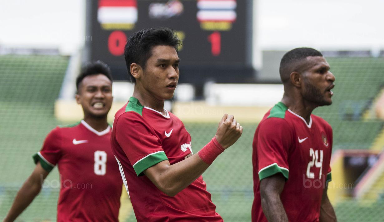 Gelandang Timnas Indonesia, Septian David mencetak dua gol untuk Indonesia yakni ke gawang Thailand dan Filipina pada SEA Games 2017 Kuala Lumpur.  (Bola.com/Vitalis Yogi Trisna)