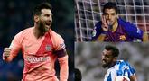 Lionel Messi kembali puncaki daftar top scorer La Liga hingga pekan ke-15. Raihan tersebut diraih usai Messi berhasil mencetak dua gol saat mengantarkan Barcelona meraih kemenangan kontra Espanyol. (Kolase Foto AFP)