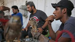 Seorang pria Irak memegang elang di pasar hewan peliharaan al-Ghazal di ibukota Irak, Baghdad (11/10/2019). Pasar hewan peliharaan al-Ghazal ini hanya buka pada hari Jumat. (AFP Photo/Ahmad Al-Rubaye)