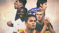 Ilustrasi Pemain Marcus Thuram, Justin Kluivert, Enzo Zidane, Giovanni Simeone, Erling Haaland (Bola.com/Adreanus Titus)