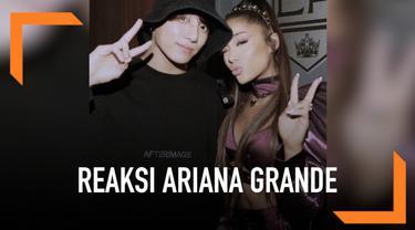 Beberapa waktu yang lalu salah satu anggota grup BTS, Jungkook, mendatangi konser Ariana Grande yang digelar di Los Angeles, Amerika Serikat. Hadirnya Jungkook ternyata membuat Ariana kegirangan.