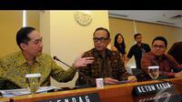 Menteri Perdagangan, Muhammad Lutfi menerangkan sebelumnya Kemendag dan Kadin telah melakukan kerjasama pada pada periode 2011 sampai 2014. Lalu, perjanjian ini diperpanjang jadi 2014 sampai 2017, Jakarta, Rabu (20/8/2014) (Liputan6.com/Faisal R Syam)
