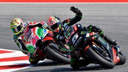 Pebalap Yamaha Tech, Johann Zarco, saat sesi kualifikasi MotoGP San Marino di Sirkuit Marco Simoncelli, Minggu (9/9/2018). Lorenzo menjadi yang tercepat dengan catatan waktu 1 menit 31,629 detik. (AFP/Tiziana Fabi)