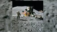 Pendaratan Apollo 15 di Bulan. (Sumber Wikimedia/NASA/Astronaut David R. Scott)