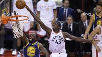 Pascal Siakam (no 43) menjadi bintang kemenangan Raptors di gim 1 NBA Finals 2019 (AP)