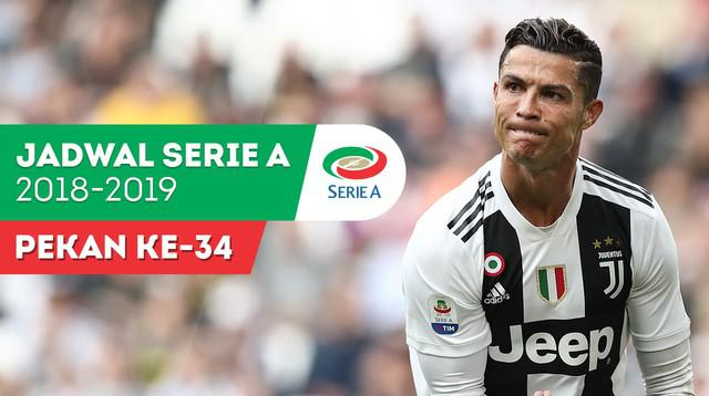 Berita video jadwal Serie A 2018-2019 pekan ke-34. Juventus tantang Inter Milan di Giuseppe Meazza, Milan, Minggu (28/4/2019).