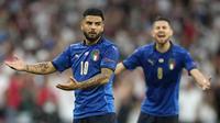Penyerang Timnas Italia, Lorenzo Insigne, tampak kecewa saat melawan Inggris pada laga final Euro 2020 di Stadion Wembley, London, Senin (12/07/2021). (Foto: AP/Frank Augstein,Pool)