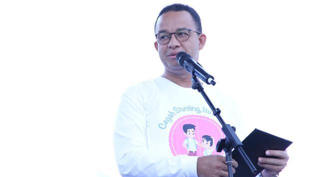 Gubernur DKI Jakarta Anies Baswedan memberi sambutan saat peresmian Kampanye Nasional Pencegahan Stunting di area Monumen Nasional (Monas), Jakarta, Minggu (16/9). (Liputan6.com/Pool/Kepala Staf Kepresdinan)
