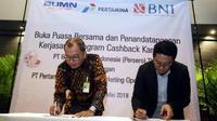 Pertamina gandeng BNI memberikan kemudahan transaksi pembayaran untuk pembelian bahan bakar minyak (BBM) di SPBU Pertamina melalui kartu kredit dan debit BNI. (Foto: Dok PT Pertamina)