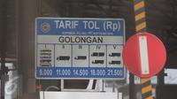 Papan tarif tol, Jakarta, Minggu (1/11/2015). Sebanyak 15 ruas tol mengalami kenaikan tarif per 1 November. (Liputan6.com/Angga Yuniar)