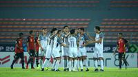 Timnas Filipina saat selebrasi pada laga melawan Timor Leste di penyisihan Grup B Piala AFF di Stadion KLFA, Kuala Lumpur (17/11/2018). (Bola.com/Dok. AFF Suzuki Cup)