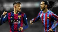 TITISAN - Ronaldinho menyebut Neymar sebagai titisannya di Barcelona. (Marca)