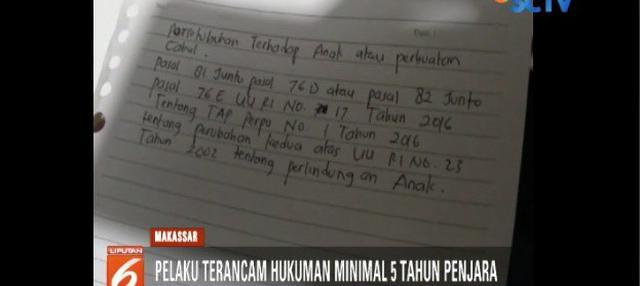 Polisi tangkap pelaku pencabulan bocah perempuan korban gempa dan tsunami Palu yang mengungsi di Makassar.