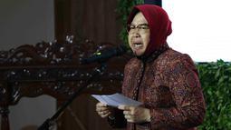 Wali Kota Surabaya Tri Rismaharini memberi sambutan saat peluncuran gerakan Jaga Bhumi periode ke-2 di Jakarta, Rabu (21/11). Gerakan ini memiliki slogan 'Kembalikan Kejayaan Alam Indonesia'. (Liputan6.com/Immanuel Antonius)