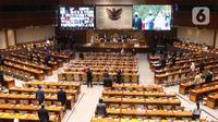 Suasana rapat paripurna ke-15 masa sidang IV tahun 2020-2021 di Kompleks Parlemen, Senayan, Jakarta, Selasa (23/3/2021). Rapat beragendakan mendengar laporan Baleg DPR terkait penetapan prolegnas RUU Prioritas tahun 2021. (Liputan6.com/Angga Yuniar)