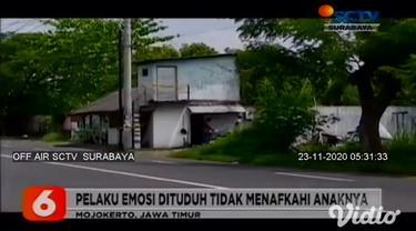 Kasus pembunuhan terjadi di warung milik istri korban di Jalan Raya Desa Sumberwono, Kecamatan Bangsal, Kabupaten Mojokerto. Dugaan sementara, pelaku emosi karena dituduh oleh korban tidak pernah menafkahi dua anaknya.