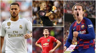 Berikut ini formasi Starting XI Termahal pada Bursa Transfer Musim Panas 2019. Diantaranya, Antoine Griezmann, Joao Felix, Nicolas Pepe. (Kolase Foto AFP)