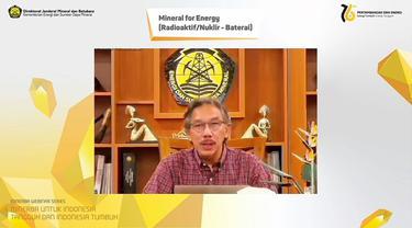 Direktur Jenderal Mineral dan Batubara Kementerian Energi dan Sumber Daya Mineral (ESDM) Ridwan Jamaludin,  dalam Webinar Mineral for Energy, Jumat (10/9/2021).