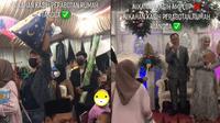 Rombongan bawa perabot rumah tangga sebagai kado pernikahan. (TikTok/@gagasetya_)