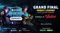 Live Streaming Grand Final GoPay Arena Level Up Community Mobile Legends di Vidio, Kamis 1 Juli 2021. (Sumber : dok. vidio.com)