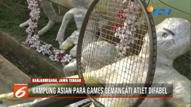 Warga Desa Jenggawur, Banjarnegara beri dukungan ajang Asian Para Games 2018 dengan membuat boneka atlet dari sampah plastik.