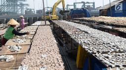 Suasana pengeringan ikan asin di kawasan Cilincing, Jakarta Utara, Rabu (9/5). Produksi ikan asin di kawasan tersebut untuk memenuhi kebutuhan di wilayah Jabodetabek. (Liputan6.com/Angga Yuniar)