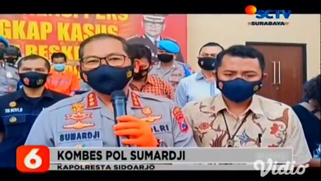 Tersangka H warga Bandung yang merupakan seorang ustaz dibekuk petugas Unit Perlindungan Perempuan dan Anak Satreskrim Polresta Sidoarjo, Jawa Timur, setelah dimintai keterangan tindakan asusila terhadap 25 santri.