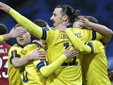FOTO: Diwarnai Comeback Ibra, Swedia Hanya Menang Tipis 1-0 atas Georgia - Zlatan Ibrahimovic; Tim Swedia