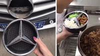 Emblem bagian depan mobil Mercedes-Benz dijadikan tempat makan. (9gag)