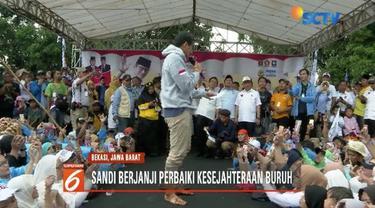 Kampanye di Bekasi, Jawa Barat, Sandiaga Uno berjanji akan sejahterakan para buruh.
