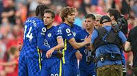 Para pemain Chelsea merayakan gol yang dicetak Kai Havertz ke gawang Liverpool dalam lanjutan Liga Inggris 2021/2022, Sabtu (28/9/2021). (Paul Ellis/AFP)