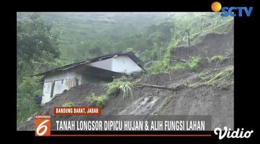 Tebing setinggi 100 meter timpa rumah warga dan tempat ibadah di Cililin, Bandung Barat.