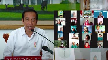 Presiden Jokowi bertemu dengan siswa SDN Sudimara Jawa Tengah dalam rangka peringatan Hari Anak Nasional 2021. (Istimewa)