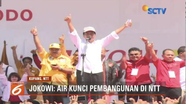 Hadiri kampanye akbar di Kupang, Nusa Tenggara Timur, Jokowi optimis dapat suara minimal 80 persen.