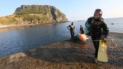 Haenyeo Korea Selatan keluar dari air setelah menangkap kerang dan abalone di pulau Jeju, 23 November 2018. Menyelam kurang lebih sampai kedalaman 20 meter, para perempuan perkasa ini tidak menggunakan tabung oksigen. (AP/Ahn Young-joon)