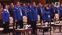 Ketum Partai Demokrat Susilo Bambang Yudhoyono menghadiri Kongres ke V Partai Demokrat di JCC, Jakarta, Minggu (15/3/2020). SBY akan digantikan Agus Harimurti Yudhoyono (AHY) yang telah mendapatkan dukungan 93 persen dari pemegang hak suara Demokrat. (Liputan6.com/Angga Yuniar)