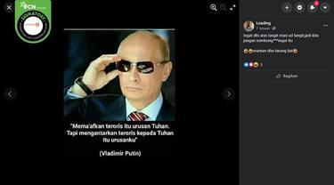 Gambar Tangkapan Layar Pernyataan Vladimir Putin terkait Teroris (sumber: Facebook)