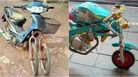 Modifikasi roda sepeda motor (Sumber: Facebook/Aslina Mang/Instagram/rizallombok)