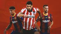 Ilustrasi - Philippe Coutinho, Luis Suarez, Miralem Pjanic (Bola.com/Adreanus Titus)
