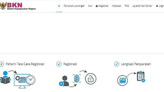 Tampilan portal Sscn.bkn.go.id (Foto: Ist)