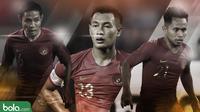 Tiga pemain Timnas Indonesia, Riko Simanjuntak, Hansamu Yama dan Andik Vermansah. (Bola.com/Dody Iryawan)