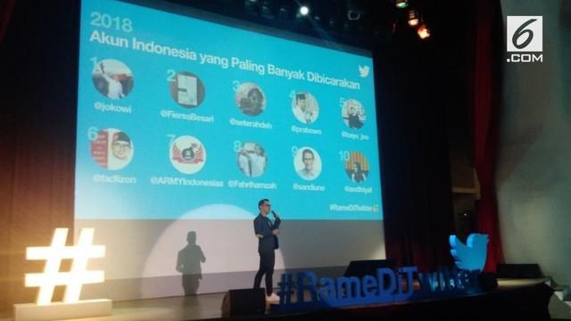 Akun Twitter capres nomor urut 1 Joko Widodo (@jokowi) dan capres nomor urut 2 Prabowo Subianto (@prabowo) termasuk dalam akun yang paling banyak dibicarakan di Twitter.