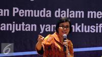 Managing Director World Bank, Sri Mulyani Indrawati saat memberi kuliah umum di kampus UI Depok, Selasa (26/7). Dalam paparannya ia menyebut Indonesia memiliki potensi dan mampu menjadi pelaku global yang disegani. (Liputan6.com/Helmi Fithriansyah)