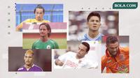 Gavin Kwan Adsit, Irfan Bachdim, Kim Kurniawan,  Ezra Walian, Raphael Maitimo dan Diego Michiels. (Bola.com/Dody Iryawan)