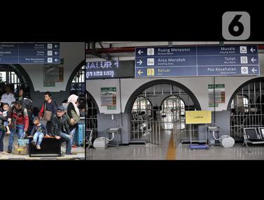 FOTO: Pemandangan Kontras H-2 Idul Fitri di Stasiun Pasar Senen