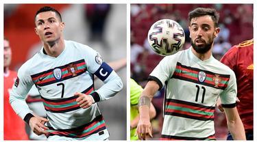 Timnas Portugal yang berpredikat sebagai juara bertahan dalam gelaran Euro 2020 (Euro 2021) masih beranggotakan pemain-pemain terbaik di liga top Eropa musim ini. Berikut 5 pilar penting Timnas Portugal yang siap mempertahankan gelar trofi Eropa. (Kolase Foto AFP)
