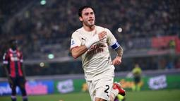 Milan menggandakan keunggulan 2-0 pada menit ke-35 setelah Bologna bermain dengan 10 pemain sejak menit ke-20. Davide Clabria mencatatkan namanya di papan skor usai memanfaatkan bola buangan Lukasz Skorupski yang tidak sempurna. (AFP/Marco Bertorello)